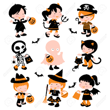 a cartoon vector illustration of a group of cute kids in halloween