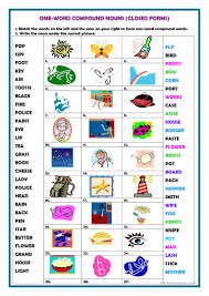 is thanksgiving one word 20 free esl compound nouns worksheets