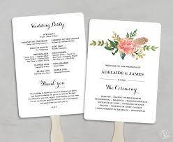 wedding program fans kit printable wedding program template fan wedding programs diy wedding