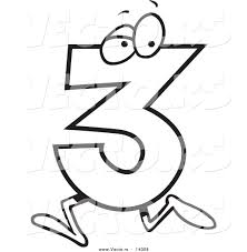 Vector Of A Cartoon Running Number Three Coloring Page Outline Number 3 Coloring Page