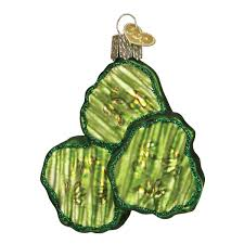 world pickle chips glass blown ornament