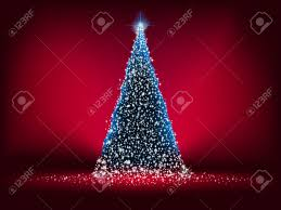 abstract blue light christmas tree on red background royalty free