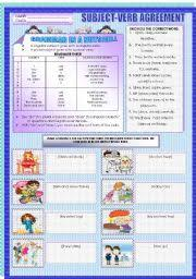 english teaching worksheets subject verb agreement