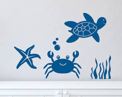 Sea Turtle Bathroom Accessories Turtle Wall Decal Etsy