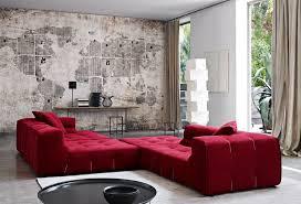 contemporary living room with interior wallpaper u0026 concrete floors