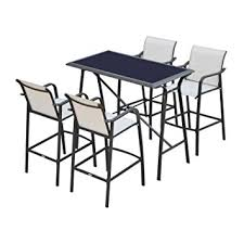 patio bar height dining set outsunny 5 outdoor patio bar height dining set