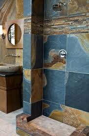 the new hardware and soap shelf travertine slate and slate shower