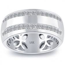 gold wedding band mens 0 64 carat diamond mens pave wedding band ring 14k white