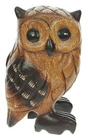 handcarved wooden owl ornament top and birthday gift