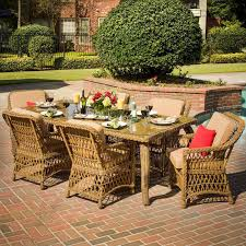 6 Person Patio Dining Set - everglades 7 piece honey resin wicker patio dining set by lakeview