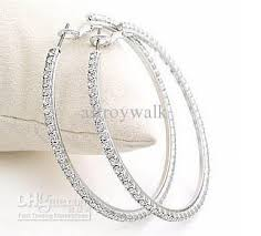 white gold hoops 2018 best selling white k and gold diamond studded hoop earrings