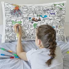 dinosaur colour in cotton pillowcase eatsleepdoodle