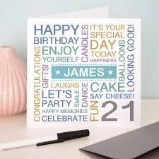 personalised 21st birthday card by a type of design