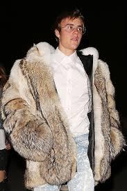 justin bieber bundles up in a giant fur coat