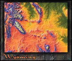 Wy Map Wyoming Topography Map Colorful Mountains U0026 Terrain