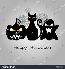 halloween background black cat happy halloween card black cat pumpkin stock illustration