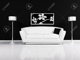 White Couch Living Room Modern Interior Design Of Living Room With A Black And White