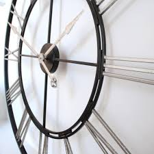 clock buy extra large big 1 meter roman silver and black skeleton wall clock