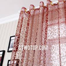 affordable burgundy and golden patterned sheer curtains