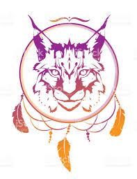 wild cat lynx totem animal in aztec style tribal tattoo tshirt
