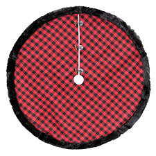 plaid tree skirt shop living 56 in polyester plaid christmas tree skirt at