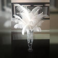 ostrich feather centerpiece white ostrich feather centerpiece 20 trumpet vase with