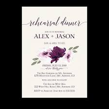 wedding rehearsal invitations purple watercolor flowers wedding rehearsal invitation