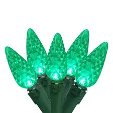 set of 100 faceted green led c6 christmas lights green wire