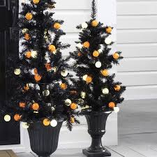 3 5 foot or 5 foot pre lit black tree with orange and