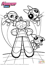 powerpuff girls vs monster coloring page free printable