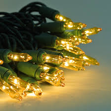 100 mini lights yellow w green cord mini lights
