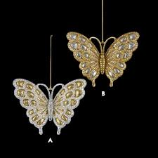 acrylic gold silver glitter butterfly ornament and city
