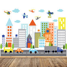 kids vinyl wall sticker decal art city buildings with cars zoom