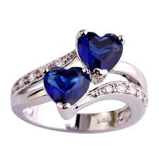 saphire rings blue sapphire heart silver ring atperrys