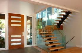 Quarter Turn Stairs Design Half Turn Staircase Wooden Steps Metal Frame Without Risers