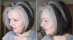 white hair with black lowlights women with fabulous middle long gray hairstyles