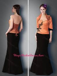 elegant satin black and orange mother of the bride dress with