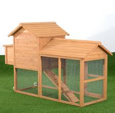 aosom deluxe portable backyard chicken coop with nesting box