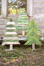 kalalou recycled wooden christmas trees with stands set of 3