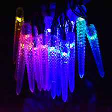 Solar Powered Patio Lights String Led Icicle Solar Powered String Lights 16ft 20led