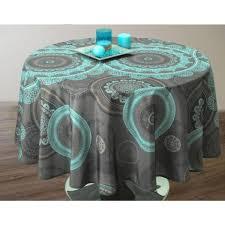 nappe ronde tissu enduit nappe ronde turquoise achat vente nappe ronde turquoise pas