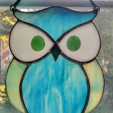 stained glass owl suncatcher bird from stained glass your way