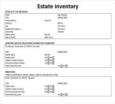 Microsoft Excel Sle Spreadsheets by Estate Inventory Template 12 Free Word Excel Pdf Documents