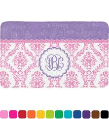 Damask Bath Rug Pink White Purple Damask Bath Mat Personalized Potty