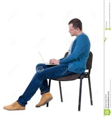 Office Chair Side View Vector Side View Of A Man Sitting On A Chair To Study With A Laptop