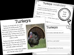 free read passage about turkeys for 1st and 2nd
