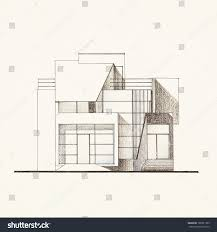 Blue Print Of House Colored Architectural Blueprint Modern House Facade Stock