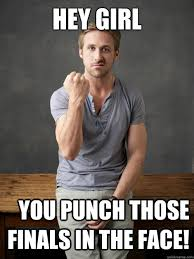Hey Girl Meme - hey girl you punch those finals in the face ryan gosling punch
