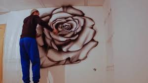 wall painting airbrushing red rose youtube