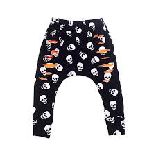 skull black and white halloween harem style drop crotch pants